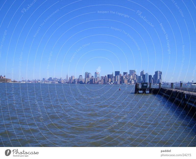 Water City Skyline New York City Blue sky Manhattan Sky blue Cloudless sky Clear sky Bright background