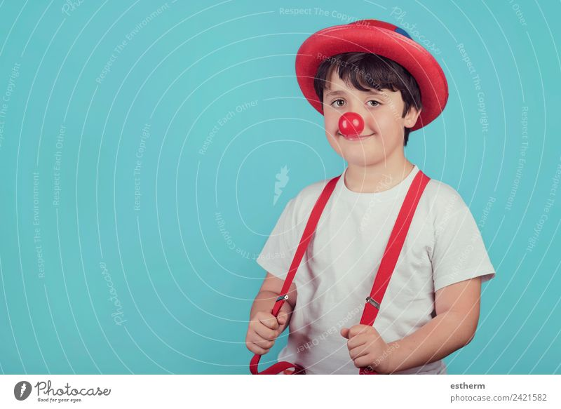 funny child with clown nose Lifestyle Joy Entertainment Party Event Feasts & Celebrations Carnival Fairs & Carnivals Birthday Human being Masculine Child