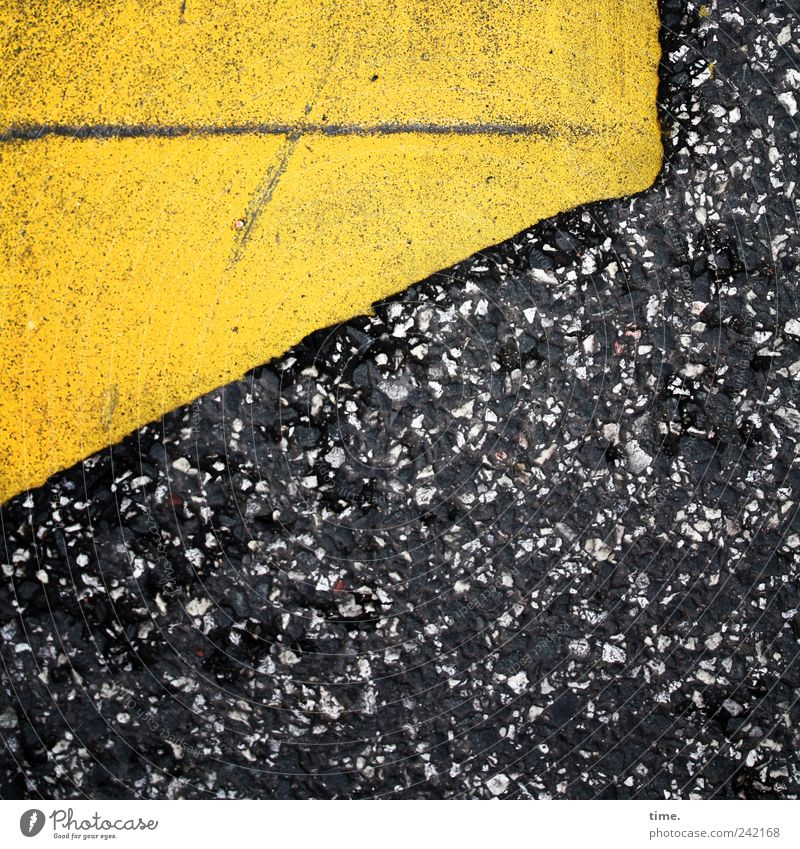 Old Yellow Street Line Asphalt Diagonal Patch Edge Warning label Clue Speckled