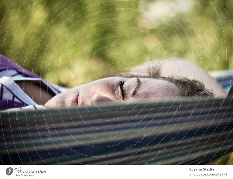 Human being Calm Relaxation Feminine Head Garden Blonde Lie Sleep Broken Stripe To enjoy Freckles Hammock Siesta Face