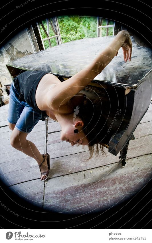 bent, playful. Piano Girl Woman Body Acrobatics Old Summer Human being Music Dust Stage Dance Performance art Hair and hairstyles Tilt Youth (Young adults)