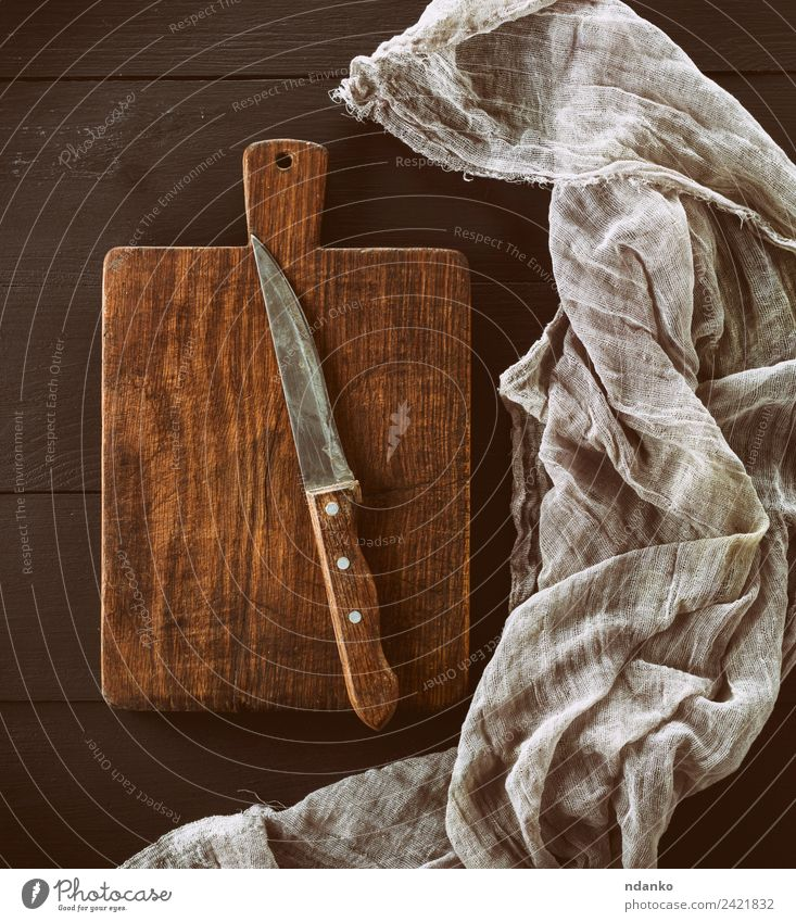 brown wooden kitchen board Knives Design Kitchen Wood Old Natural Above Retro Brown knife Napkin Plank utensil Towel cutting Object photography empty food