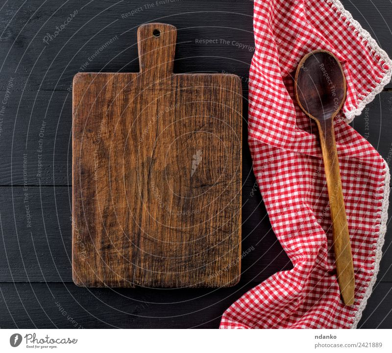 empty old wooden cutting board Old White Red Natural Wood Brown Above Design Retro Kitchen Surface Consistency Rough Spoon Rustic Towel