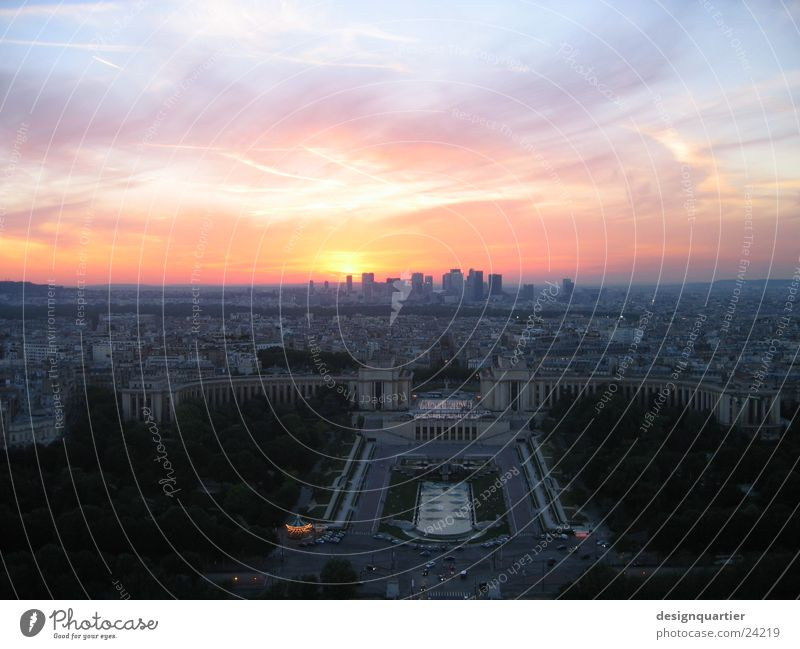 Sunset in Paris from the Eifel Tower Eiffel Tower Colouring France Europe Sky Reaction Vantage point