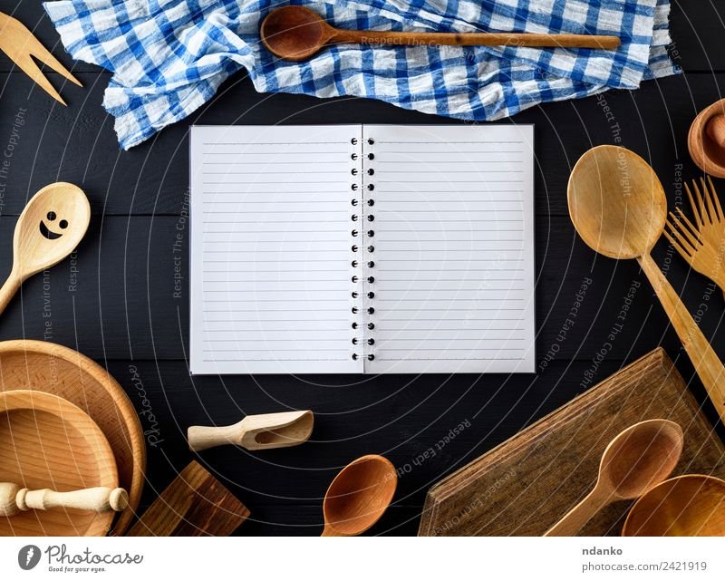 open empty paper notebook Crockery Plate Cutlery Fork Spoon Table Kitchen Tool Paper Wood Above Retro Brown Black White Tradition sheet Blank utensil Household