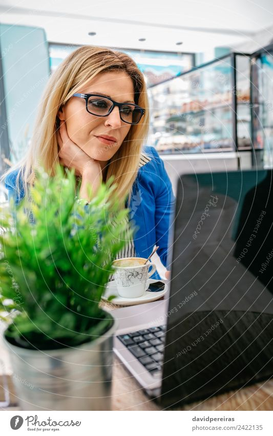 Woman working with the laptop Beautiful Table Work and employment Workplace Business Computer Notebook Internet Human being Adults Plant Blonde Driving Sit