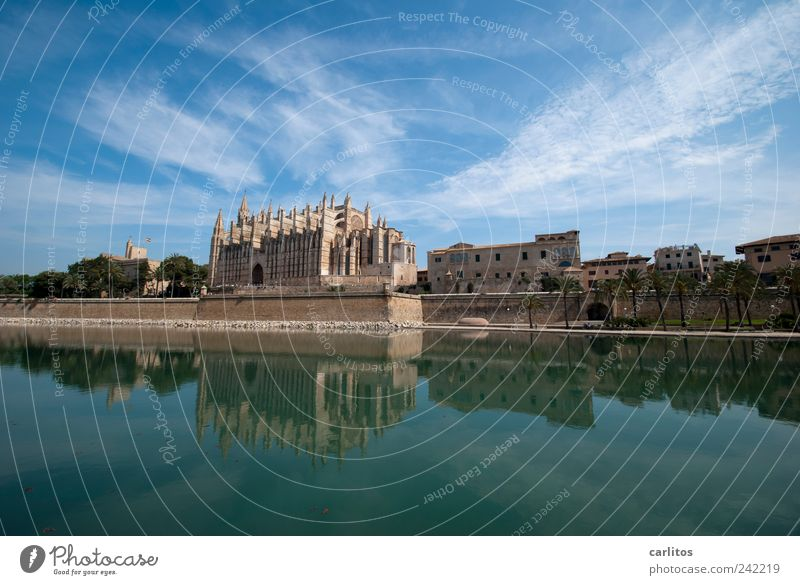 Postcard from Palma Air Water Sky Beautiful weather Church Tourist Attraction Old Esthetic Gigantic Blue Belief Religion and faith Symmetry Tourism Tradition
