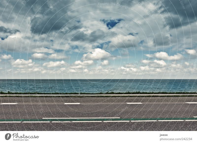 Water Sky White Ocean Blue Clouds Street Gray Line Coast Road traffic Weather Environment Horizon Climate Stripe