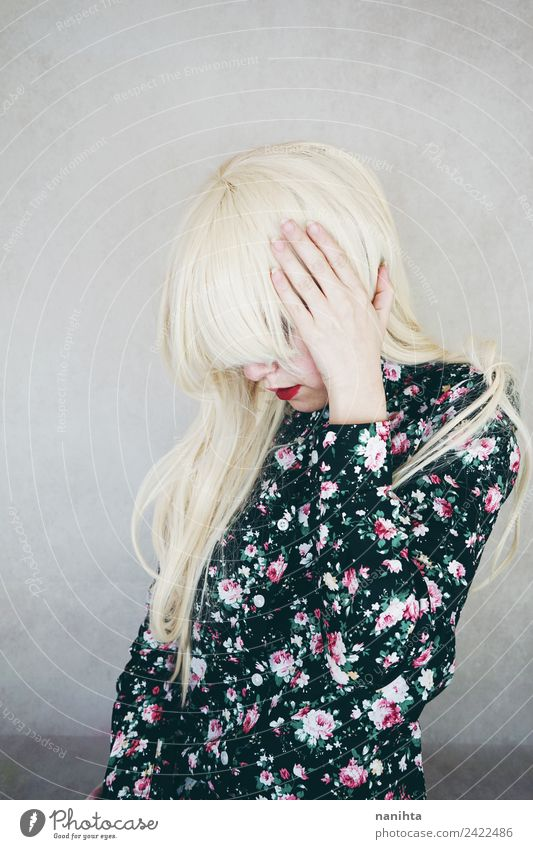 Young blonde woman with a headache Lifestyle Elegant Style Hair and hairstyles Healthy Illness Human being Feminine Young woman Youth (Young adults) 1