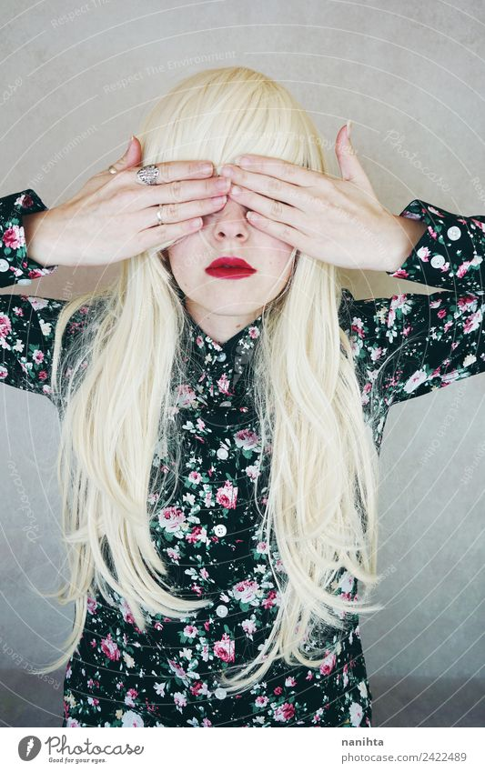 Young blonde woman covering her eyes with her hands Elegant Style Design Beautiful Hair and hairstyles Lipstick Human being Feminine Young woman