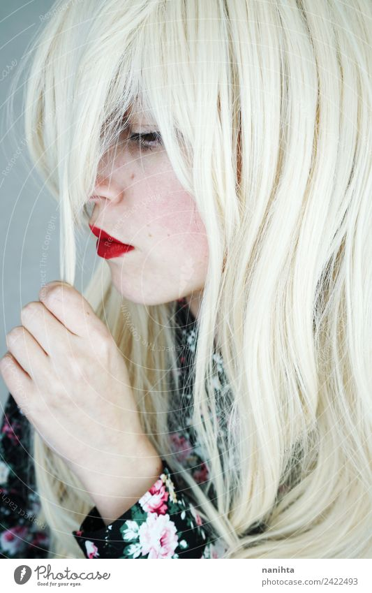Profile portrait of a blonde and sad woman Style Beautiful Hair and hairstyles Skin Face Lipstick Human being Feminine Young woman Youth (Young adults) 1
