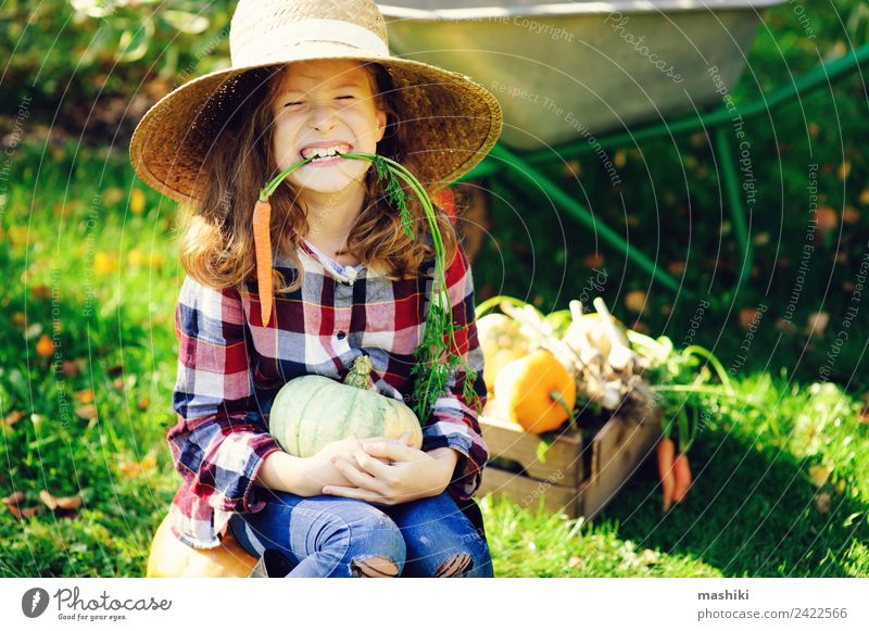 happy funny child girl in farmer hat and shirt Vegetable Lifestyle Joy Happy Child Girl Nature Autumn Growth Fresh Small Funny Natural Green Harvest Carrot