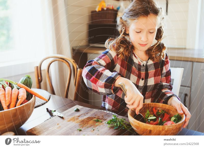 child girl helps mom to cook and cut fresh vegetables Child Joy Girl Adults Lifestyle Family & Relations Fresh Infancy Table Kitchen Mother Vegetable Farm