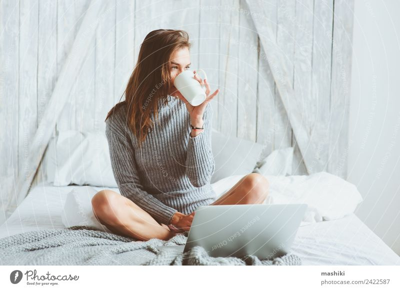 young blogger woman working at home with social media Coffee Lifestyle Shopping Relaxation Work and employment Profession Office work Business Telephone