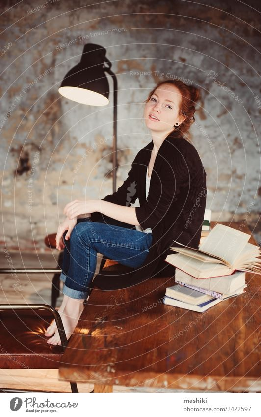 young hipster redhead woman relaxing at home Woman Relaxation Dark Lifestyle Adults Warmth Autumn Wood Gray Metal Dream Modern Table Book Reading Soft