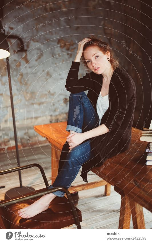 young hipster redhead woman relaxing at home Woman Relaxation Dark Adults Lifestyle Warmth Autumn Wood Gray Metal Dream Modern Table Book Soft Home