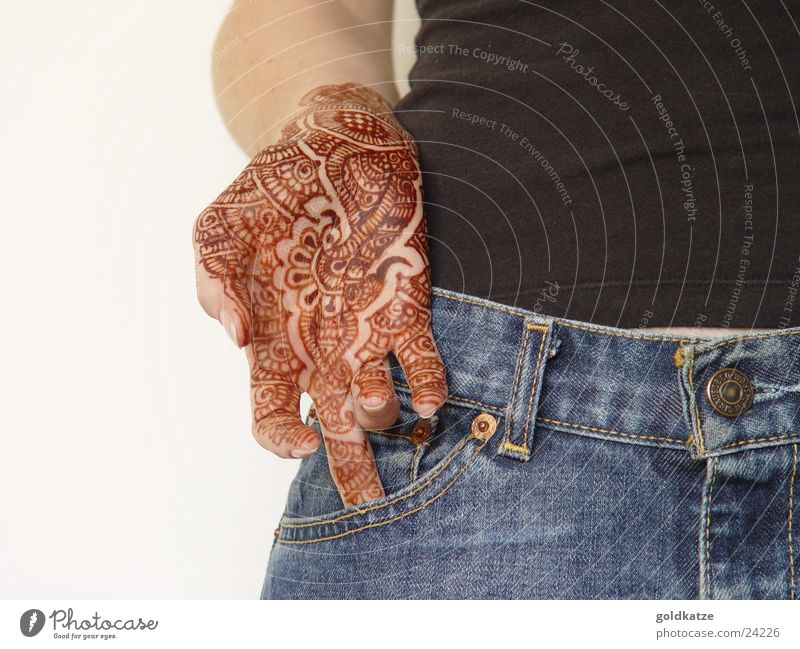 mendhi Style Exotic Beautiful Skin Vacation & Travel Feminine Woman Adults Hand Fingers Jeans Jewellery Tattoo Ornament Hip & trendy Brown Esthetic Identity