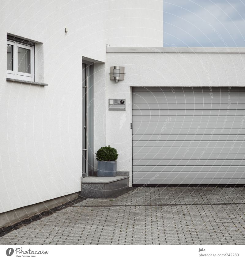 modern Sky Pot plant House (Residential Structure) Detached house Manmade structures Building Architecture Wall (barrier) Wall (building) Facade Window Door