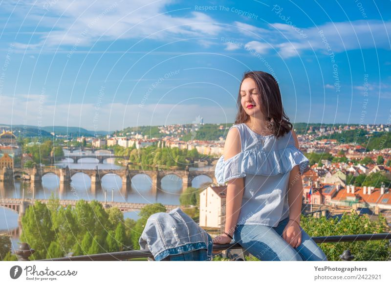 Beautiful woman and Vltava river in Prague Woman Vacation & Travel Summer Relaxation Adults Lifestyle Think Europe Sit Smiling Happiness To enjoy