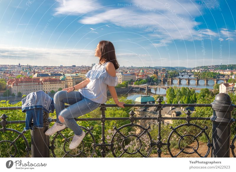 Woman on a fence and panorama of Prague City Vacation & Travel Summer Beautiful Relaxation Calm Adults Architecture Lifestyle Happy Art Think Gold Europe Sit