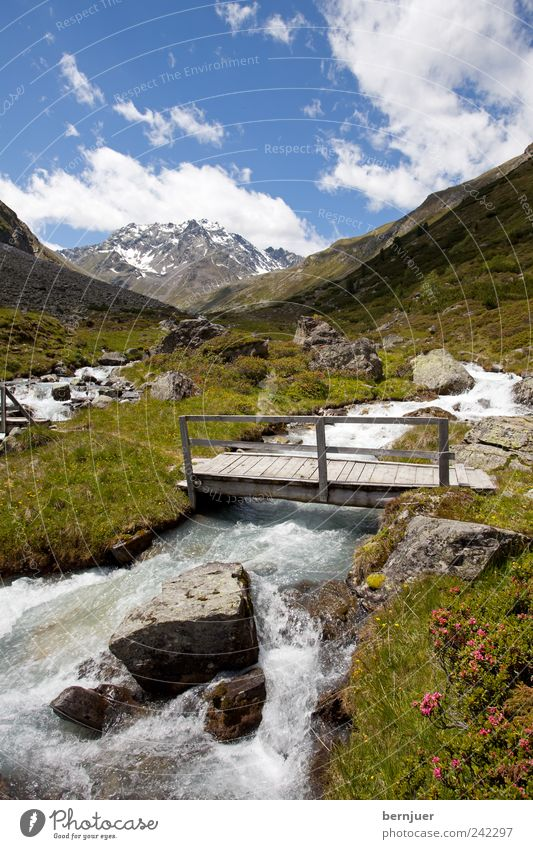 Bridge over troubled water Nature Landscape Plant Air Water Sky Clouds Summer Beautiful weather Flower Alps Mountain Waves Brook Lanes & trails Joy Footpath