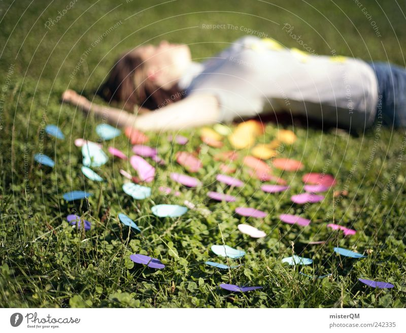 Human being Woman Calm Life Emotions Meadow Grass Freedom Park Contentment Esthetic Creativity Heart Idea Hope Remote