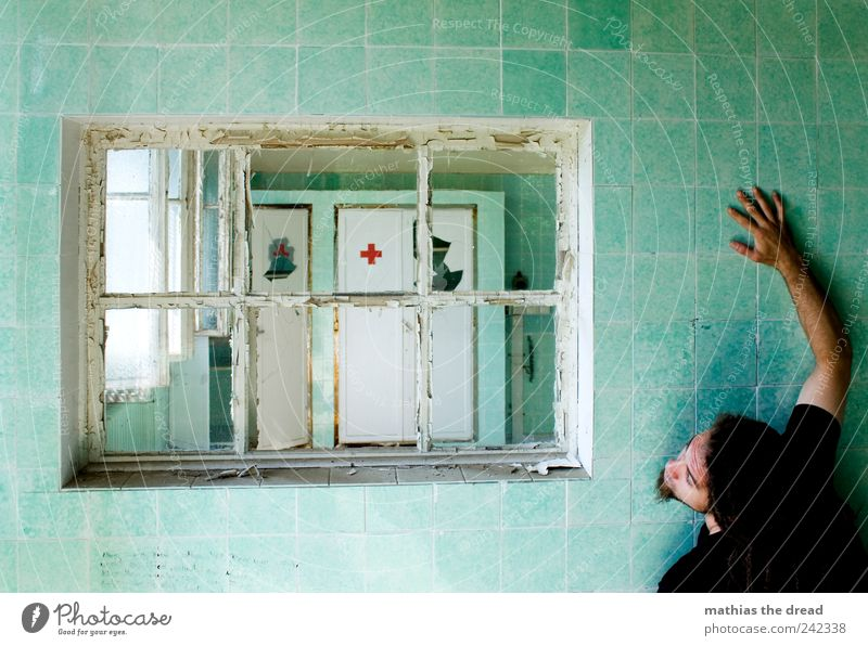 THE DOCTOR'S LATE. Human being Masculine Young man Youth (Young adults) Ruin Manmade structures Building Architecture Wall (barrier) Wall (building) Window