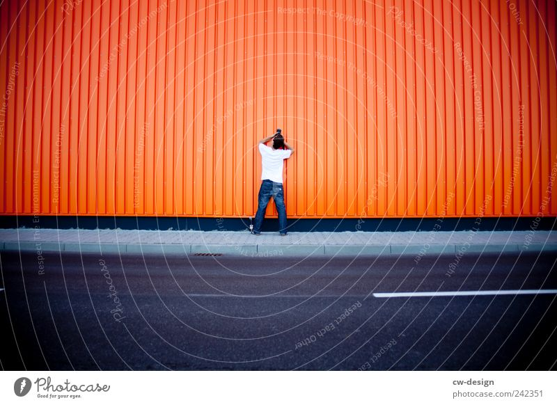 Human being Youth (Young adults) Blue Joy Wall (building) Architecture Gray Wall (barrier) Orange Leisure and hobbies Facade Arrangement Masculine Camera