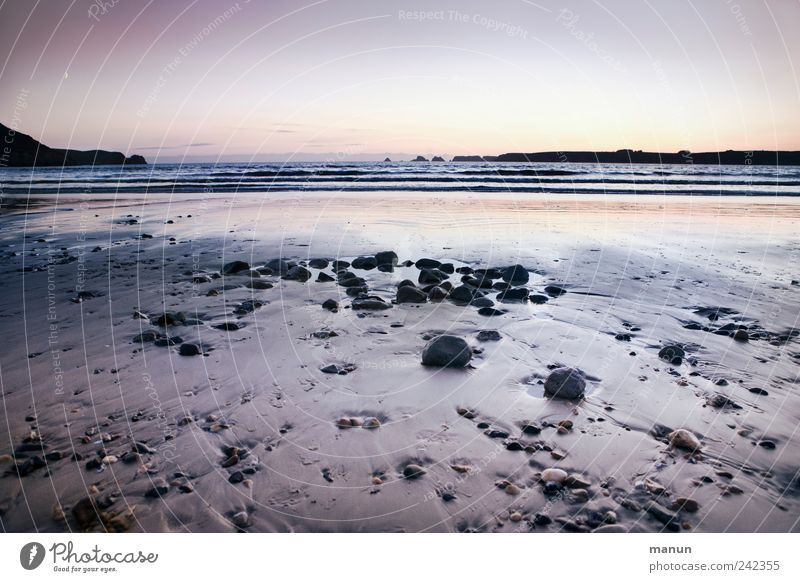 Evening at the beach Nature Landscape Elements Sand Water Cloudless sky Rock Waves Coast Beach Bay Reef Ocean Atlantic Ocean Brittany France Cliff Stone