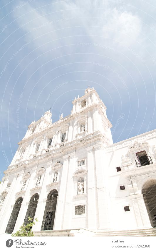 Summer Architecture Religion and faith Bright Facade Church Beautiful weather Illuminate Tourist Attraction Portugal Old town Lisbon