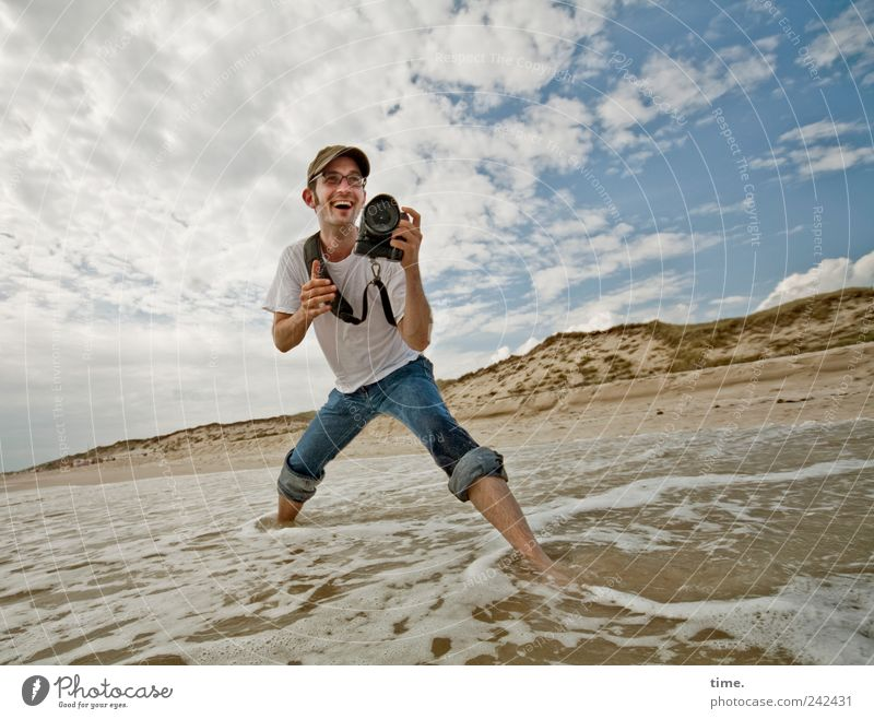 It's Only About Photographing Water Ocean Sand Waves Man Masculine Take a photo Joie de vivre (Vitality) Clouds Sky Dynamics