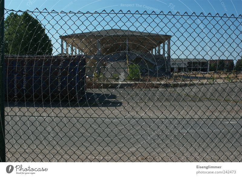 restricted area Summer Deserted Military building Wall (barrier) Wall (building) Hideous Broken Dry Fear Dangerous Testing & Control Arrangement Perspective