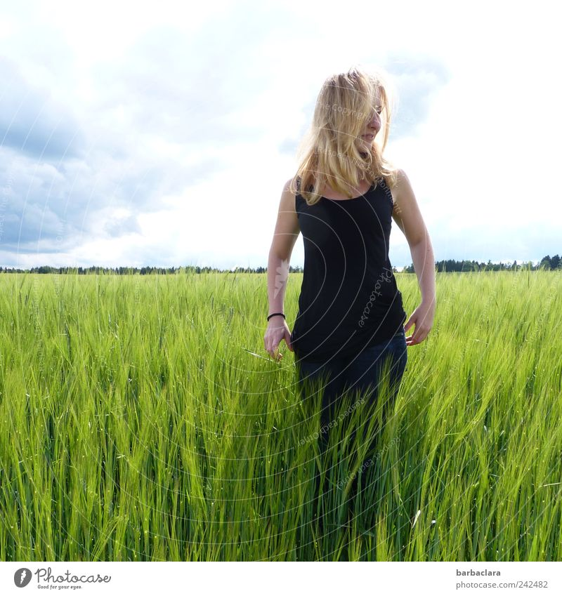 Close to nature Feminine Young woman Youth (Young adults) Woman Adults 1 Human being 18 - 30 years Summer Beautiful weather Grain field Field Blonde Long-haired