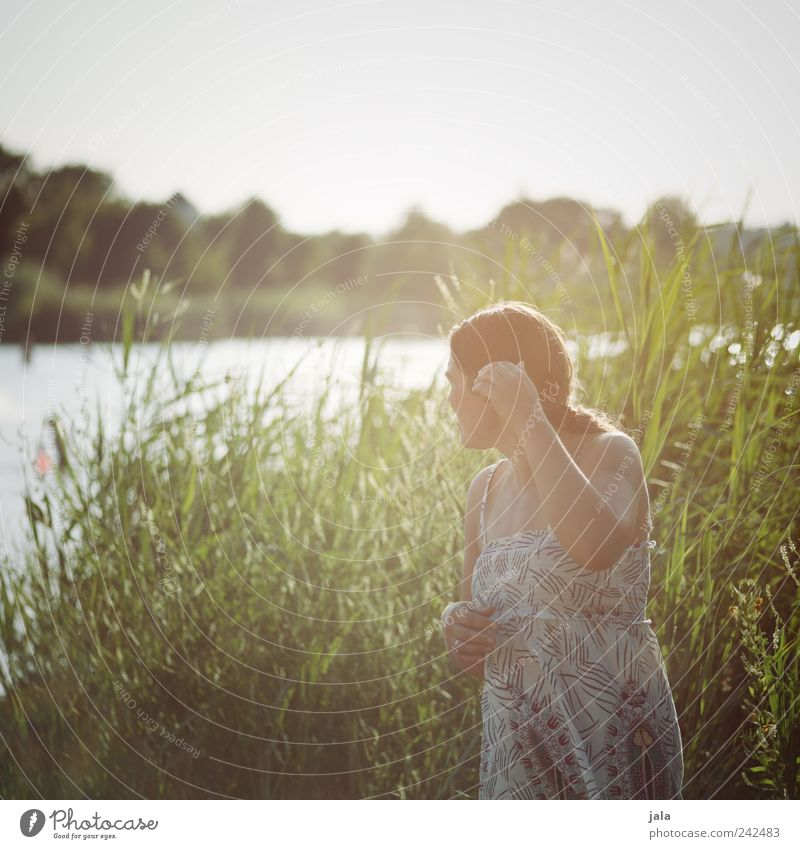 Woman Human being Sky Nature Plant Adults Feminine Landscape Grass Lake Stand Bushes 30 - 45 years