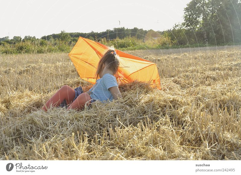Human being Child Sky Nature Girl Summer Joy Landscape Hair and hairstyles Infancy Field Sit Climate Umbrella Agriculture Beautiful weather