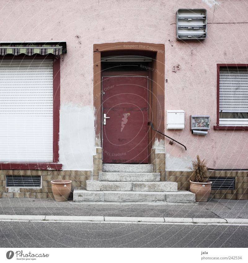 Red House (Residential Structure) Street Window Architecture Gray Lanes & trails Building Door Pink Facade Stairs Gloomy Manmade structures Mailbox
