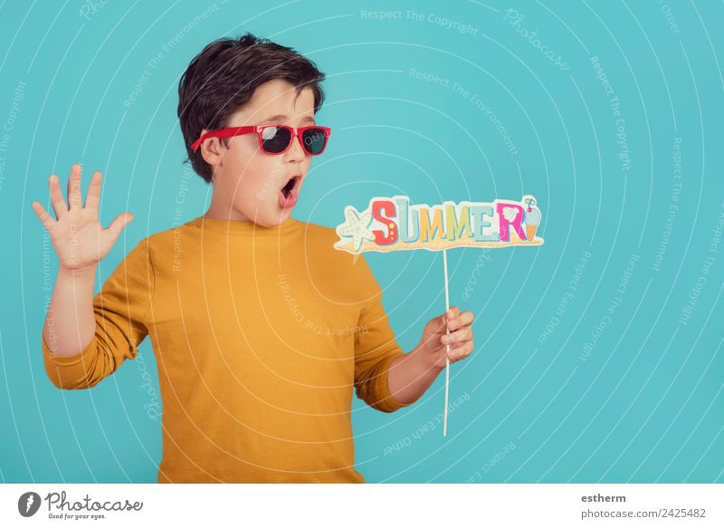 Summer,funny child with sunglasses Child Human being Vacation & Travel Sun Joy Beach Lifestyle Funny Movement Boy (child) Tourism Feasts & Celebrations Trip