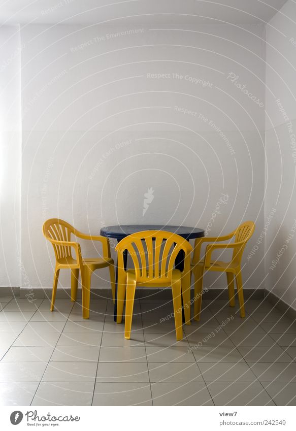 Blue Loneliness Far-off places Yellow Colour Wall (building) Wall (barrier) Line Design Concrete Table Fresh Arrangement Gloomy Chair Authentic
