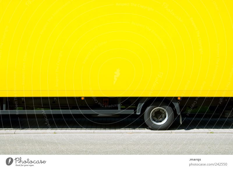 hangers Work and employment Economy Logistics Company Transport Means of transport Truck Trailer Driving Yellow Colour Competition SME Services Colour photo