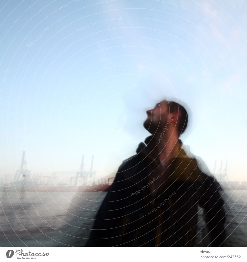 Seh-Mann in front of Hamburg harbour Design Summer Masculine Adults Head 1 Human being 30 - 45 years Environment Landscape Sky Clouds Horizon Movement Blue