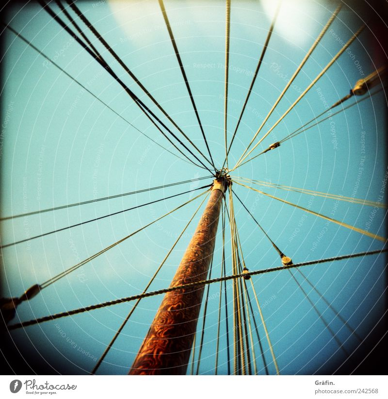 entangled Rope Sky Sailboat Watercraft Wood Tug-of-war Blue Brown Chaos Network Teamwork Tradition Attachment Maritime Muddled Vignetting Mast Colour photo