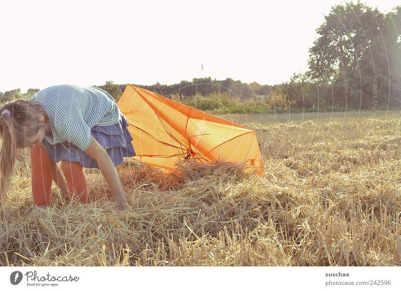 backlight straw girl II Child Girl Infancy 1 Human being 3 - 8 years Nature Landscape Sky Summer Beautiful weather Field Joy Joie de vivre (Vitality)