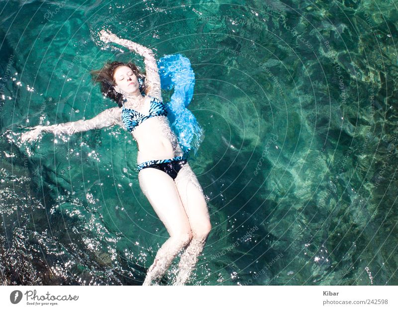 Woman Human being Nature Youth (Young adults) Blue Beautiful Summer Vacation & Travel Beach Ocean Calm Relaxation Feminine Freedom Adults Dream