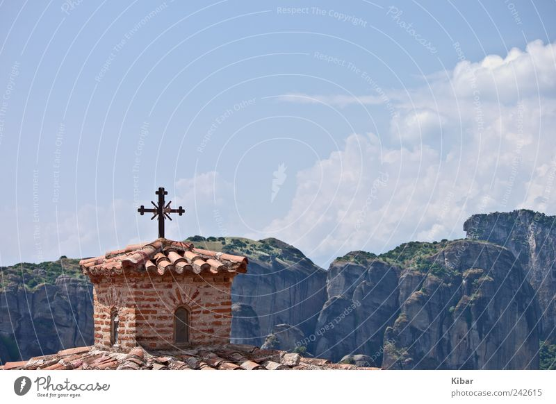 Lonely Cross Happy Harmonious Well-being Contentment Calm Meditation Culture Nature Landscape Sky Horizon Mountain Sign Crucifix Blue Trust Safety (feeling of)