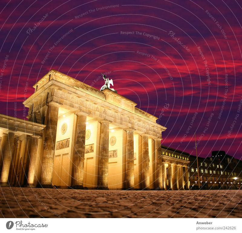 Evening atmosphere at the Brandenburg Gate in Berlin Sky Beautiful weather Downtown Berlin Germany Town Capital city House (Residential Structure)