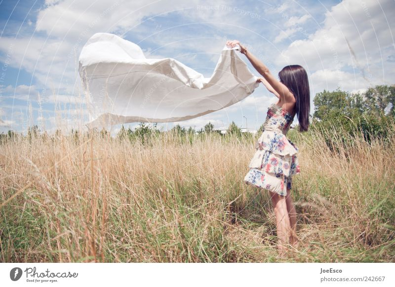 Woman Sky Beautiful Summer Joy Clouds Adults Relaxation Life Freedom Landscape Fashion Field Wind Natural Esthetic