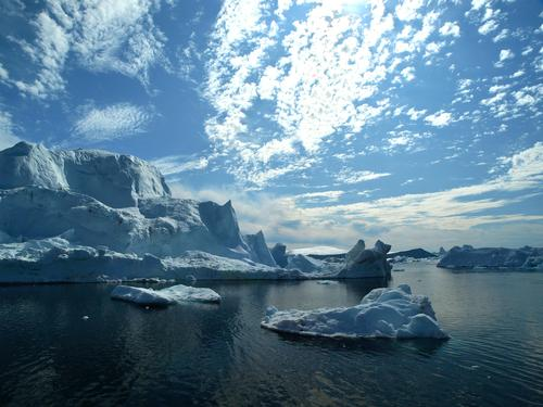 Nature Water Sky Ocean Blue Calm Clouds Far-off places Landscape Ice Frost Climate Elements Climate change Fjord Iceberg