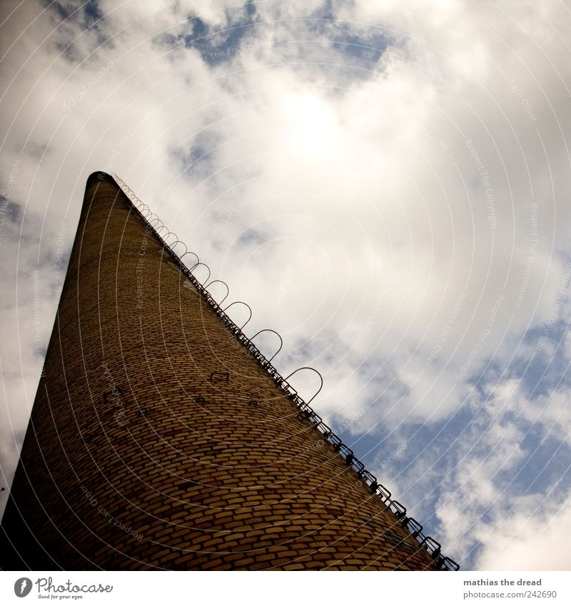 chimney Environment Nature Landscape Sky Clouds Skyline Deserted Industrial plant Factory Ruin Manmade structures Building Architecture Chimney Smoking Thin