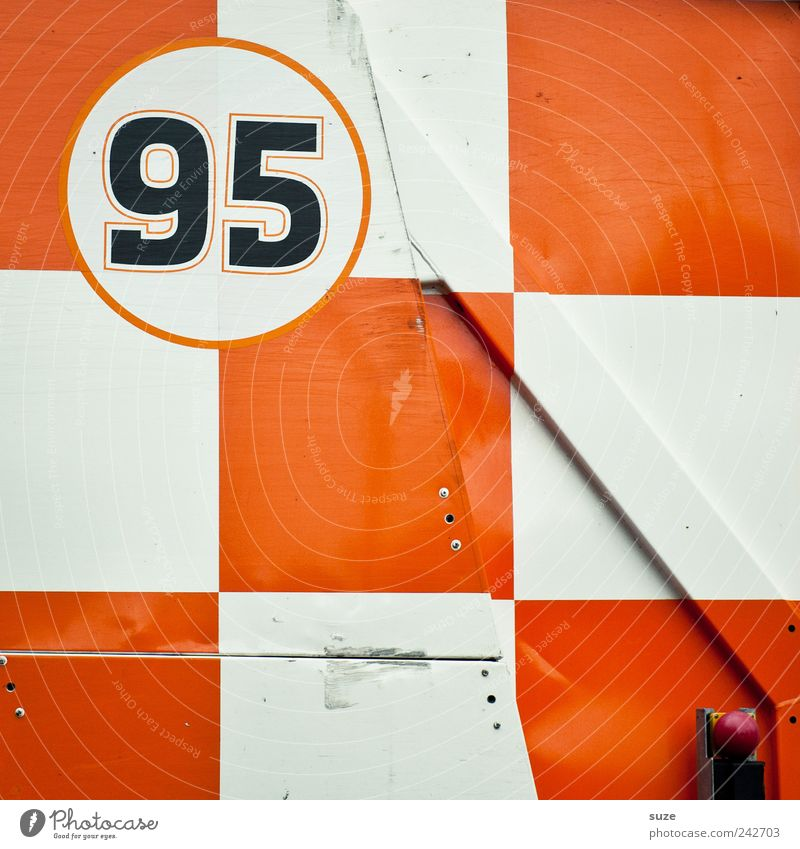 95 Container Metal Sign Digits and numbers Orange White Checkered Background picture Diagonal Square Graphic Illustration ninety-five Gaudy Colour photo