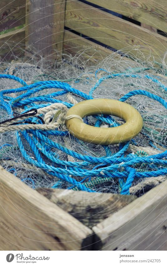 The Ring Workplace Plastic Knot Net Blue Yellow Chaos Muddled Rope String Circle Fishing net Fishery Crate Wood Wooden box Fishing line Untidy Nylon cord